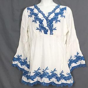 new Denim 24/7 embroidered boho Tunic white & blue
